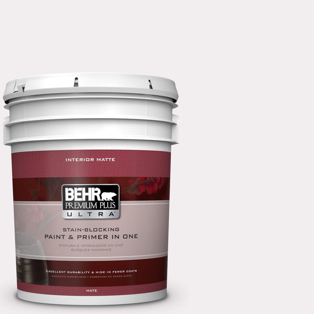 BEHR Premium Plus Ultra 5 gal. #PPL-12 Rose Dawn Flat/Matte Interior Paint