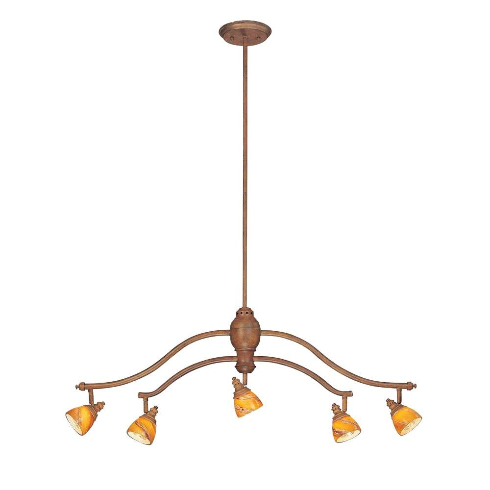 Hampton Bay 5-Light Walnut Adjustable Hanging Chandelier with Art Glass Shades