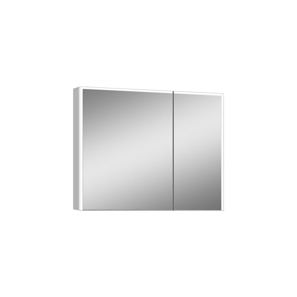 LTL Home Products Vienna 31.75 in. x 27.75 in. Lighted Impressions Frameless Surface-Mount LED Mirror Medicine Cabinet in Aluminum