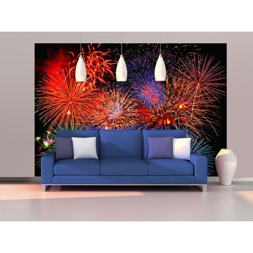 Amazing Ideal Decor 100 In. X 144 In. Fireworks Wall Mural DM131   The Home Depot Part 13
