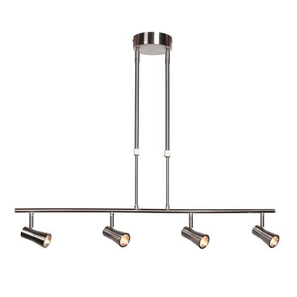 Sleek 33 in. 4-Watt Integrated LED Brushed Steel Pendant with Shade