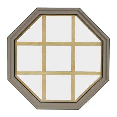 24 in. x 24 in. Octagon Sandstone 6-9/16 in. Jamb 9-Lite Grille Geometric Aluminum Clad Wood Window
