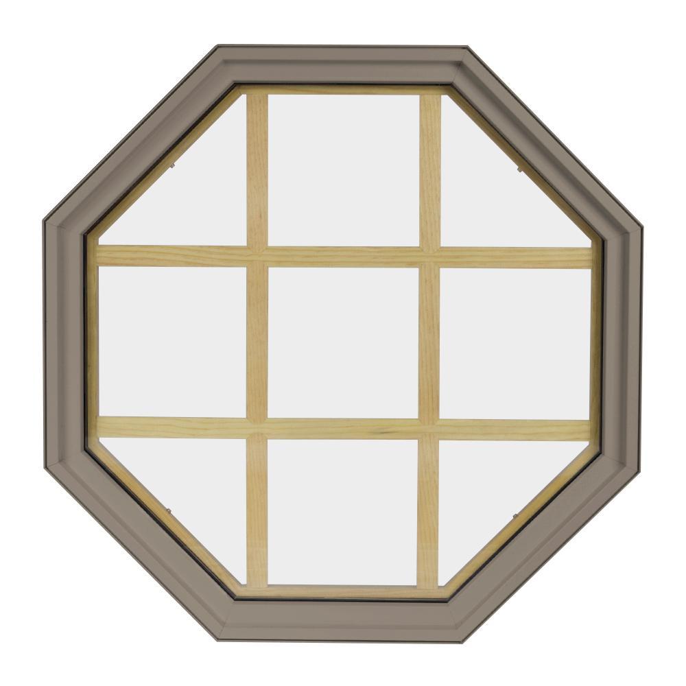 36 in. x 36 in. Octagon Sandstone 4-9/16 in. Jamb 9-Lite Grille Geometric Aluminum Clad Wood Window
