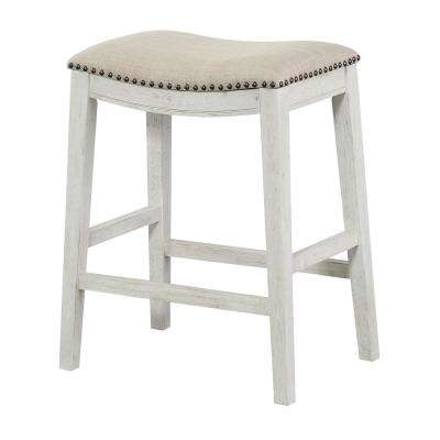 Saddle Stool 24 in. Beige Fabric and Antique White Base and Antique Bronze Nailheads (2-Pack)