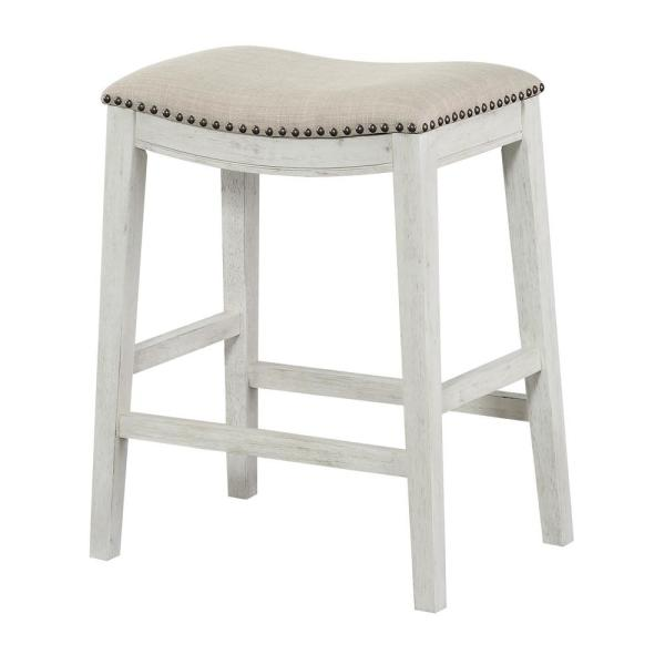 OSP Home Furnishings Saddle Stool 24 in. Beige Fabric and Antique