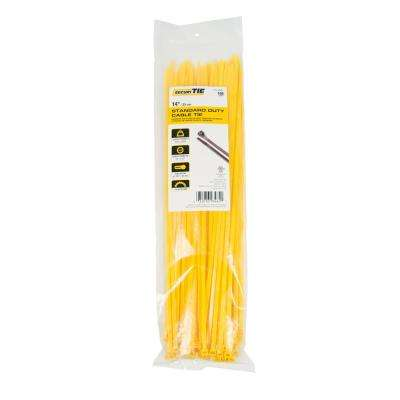 14 in. Cable Tie, 50 lb. Tensile, Yellow, 100-Pack (Case of 10)