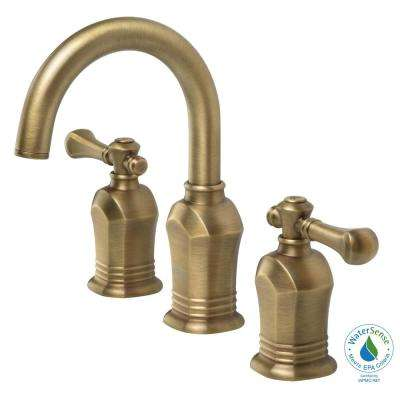 Verdanza 8 in. Widespread 2-Handle High-Arc Bathroom Faucet in Antique Brass