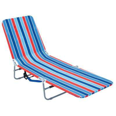 Blue/Red Striped Steel Adjustable Backpack Lounge Beach Chair