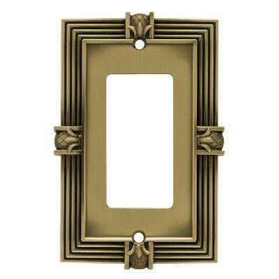 Pineapple Decorative Single Rocker Switch Plate, Tumbled Antique Brass