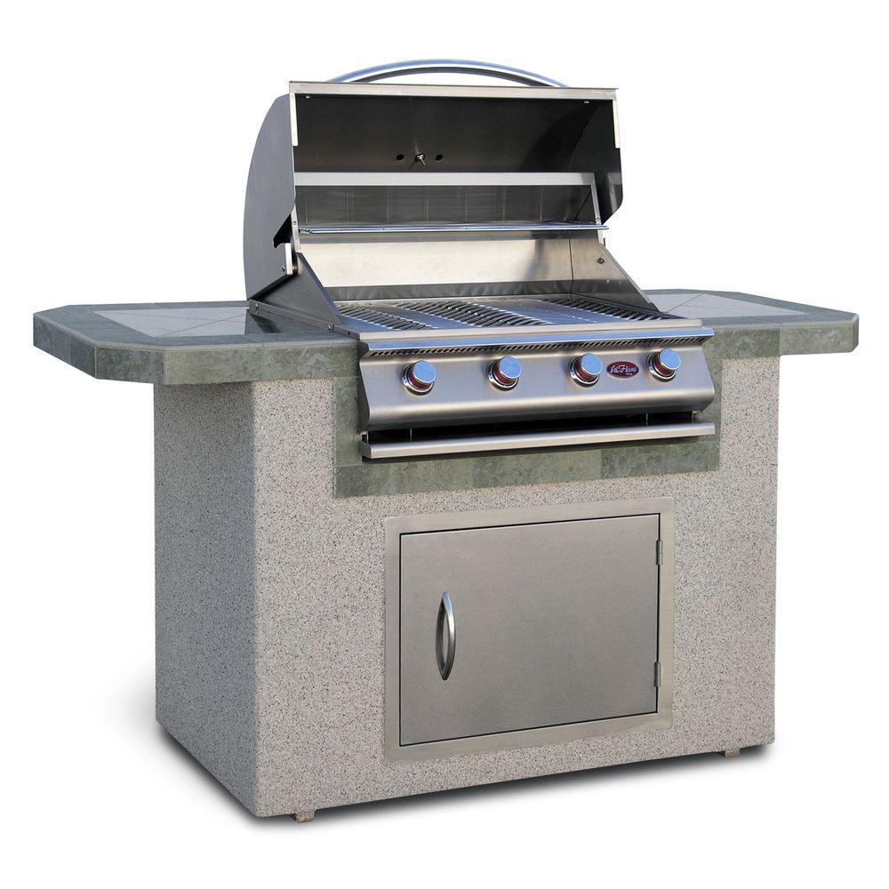 Cal flame 6 ft stucco and tile grill island with 4 burner for B kitchen glass grill
