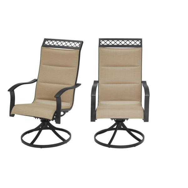 Statesville Scroll Decorative Header Swivel Padded Sling Outdoor Patio Dining Chair in Toffee Tan (2-Pack)
