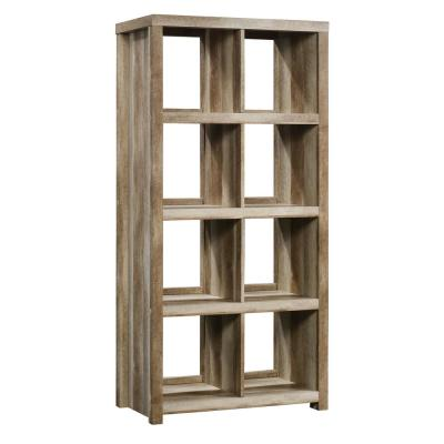 61.65 in. Lintel Oak Wood 8-shelf Accent Bookcase with Cubes