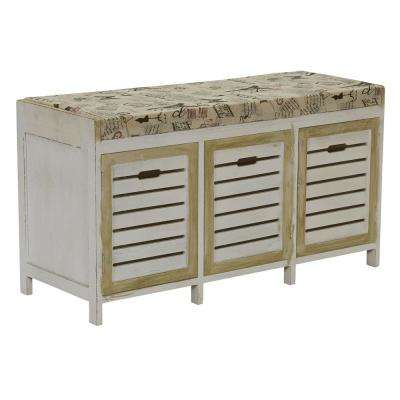 Whitewash Entryway Storage Bench