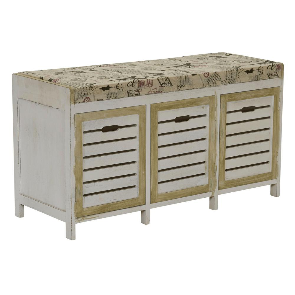 Home Depot Foyer Bench : Household essentials whitewash entryway storage bench ml