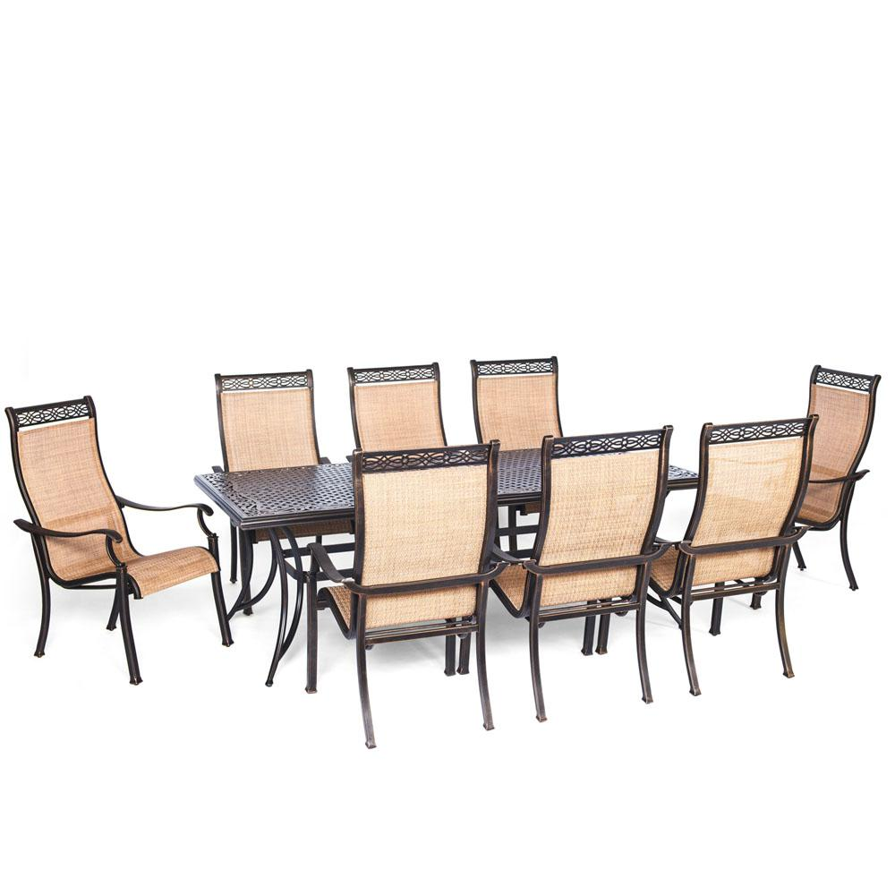 Hanover Somerset 9 Piece Aluminum Rectangular Outdoor Dining Set With  Cast Top Table