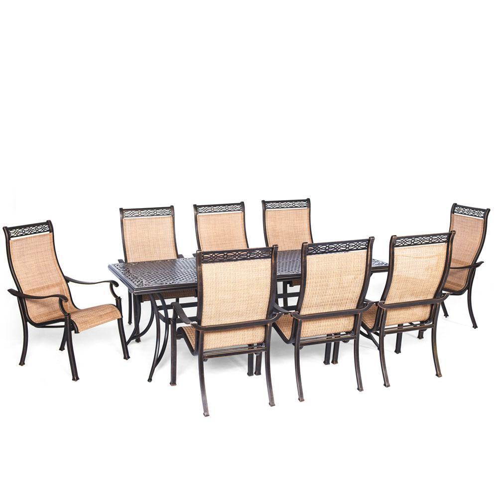 Somerset 9-Piece Aluminum Rectangular Outdoor Dining Set with Cast-Top Table