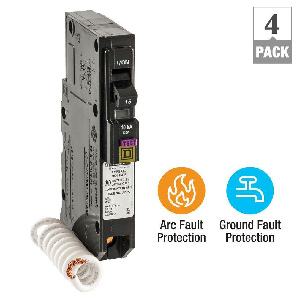 QO 15 Amp Single-Pole Dual Function (CAFCI and GFCI) Circuit Breaker
