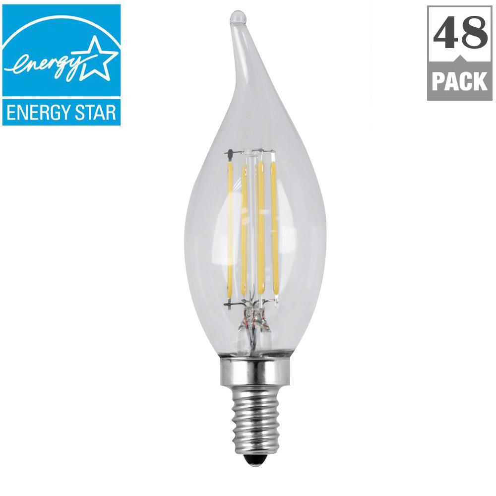 60w Equivalent Soft White 2700k Ca10 Dimmable Filament Led Candelabra Base