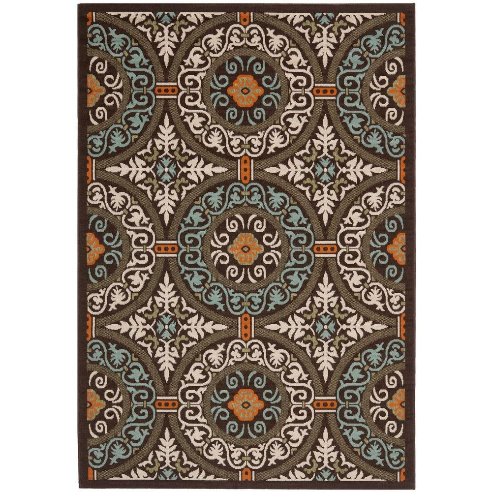 Safavieh Veranda Chocolate/Aqua 6 ft. 7 in. x 9 ft. 6 in. Indoor/Outdoor Area Rug