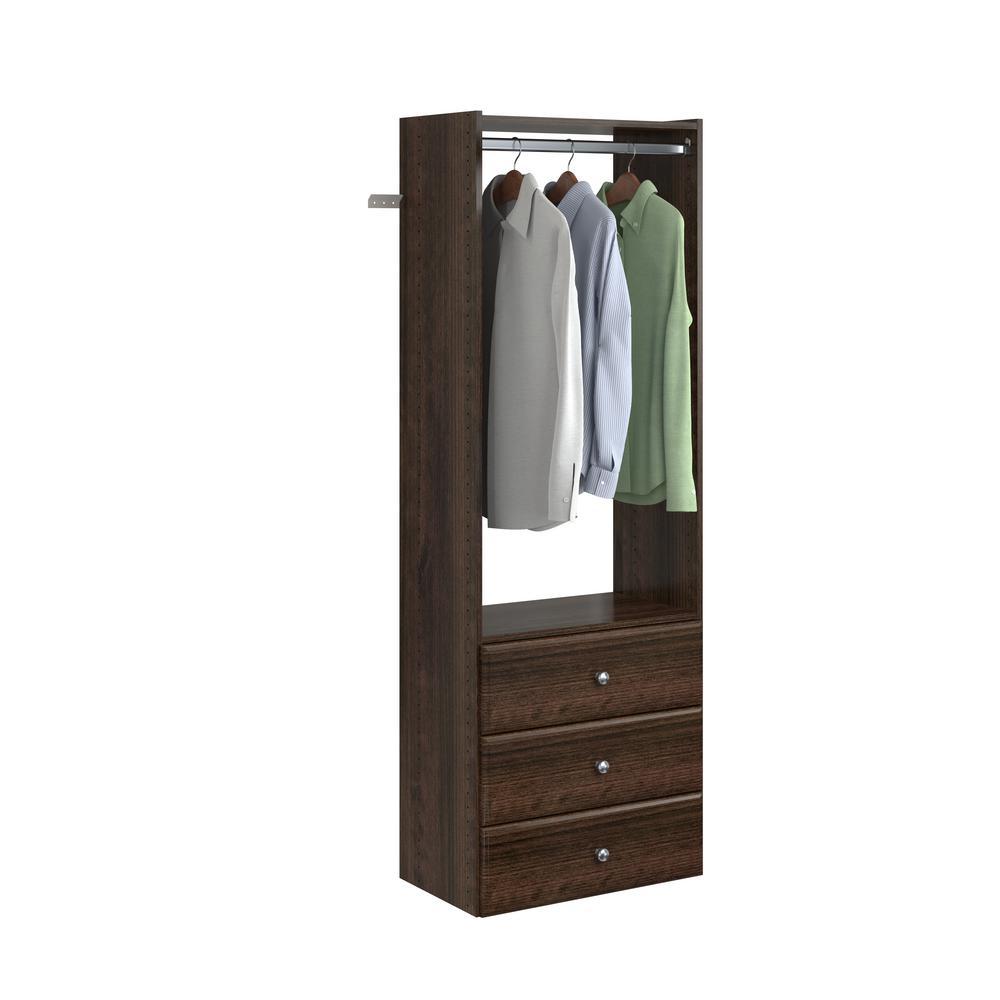 14 in. D x 25.125 in. W x 72 in. H Espresso Wood Elite Tower Closet Kit