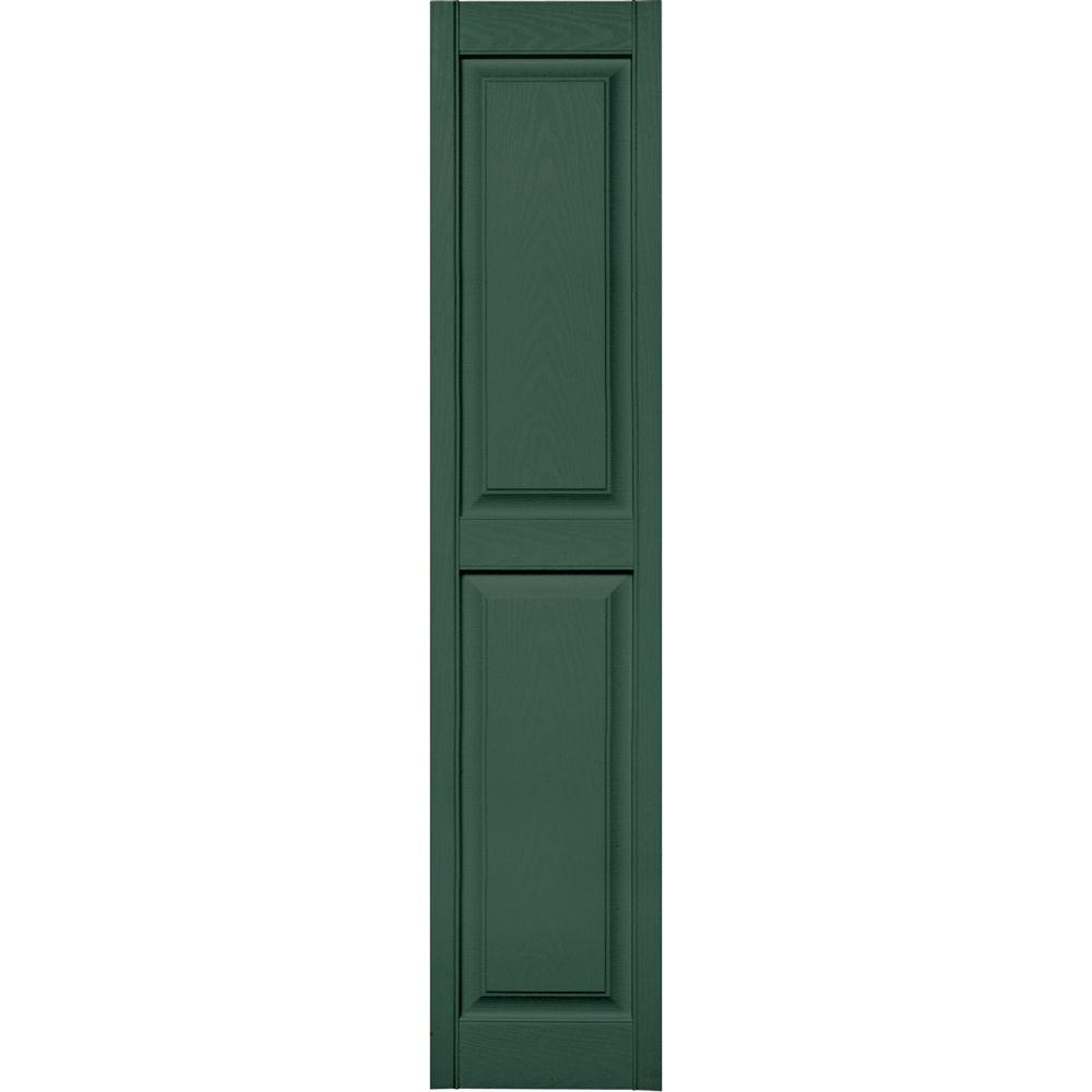 Builders Edge 15 in. x 71 in. Raised Panel Vinyl Exterior Shutters Pair in #028 Forest Green