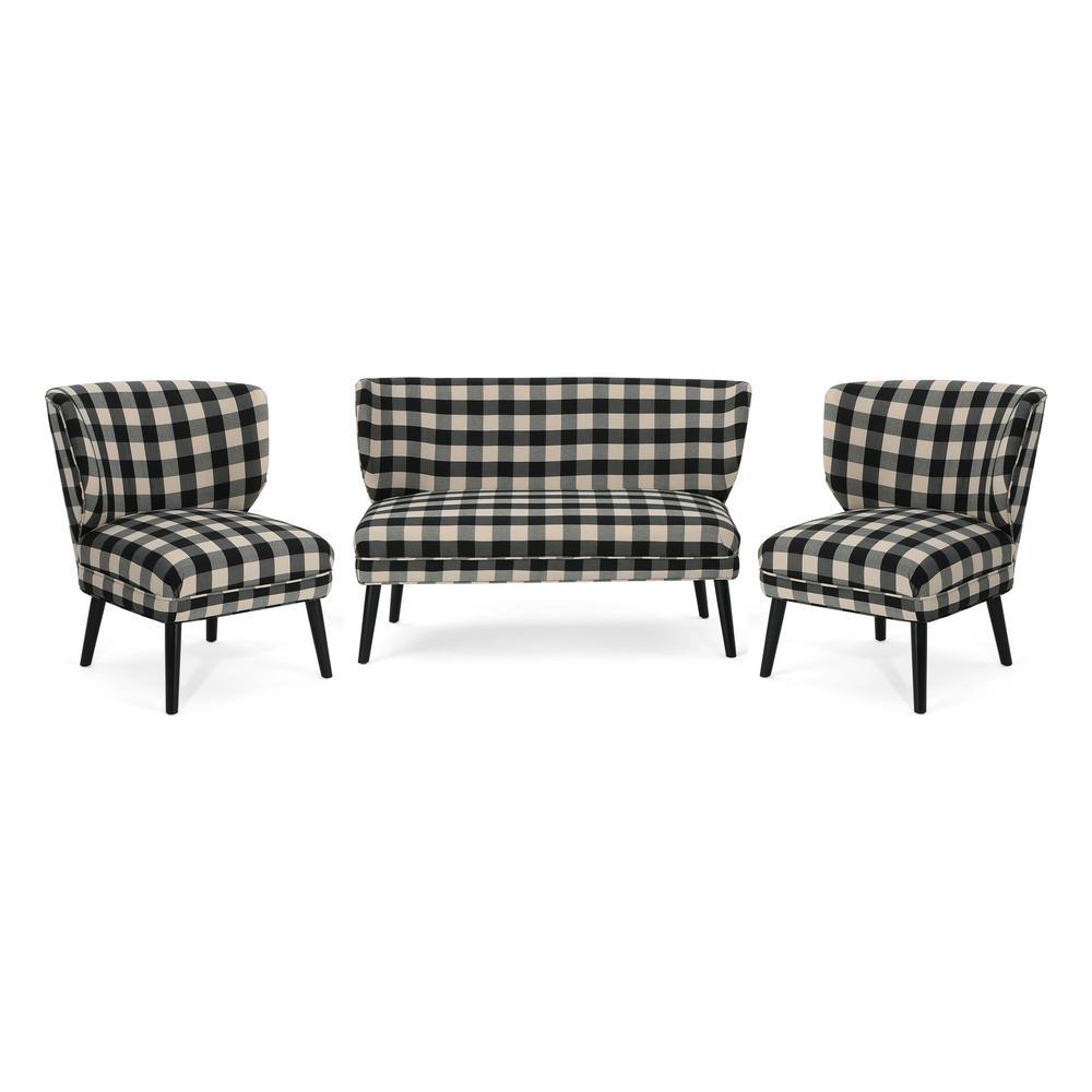 Desdemona Modern Farmhouse 3-Piece Black Checkerboard Fabric Chat Set