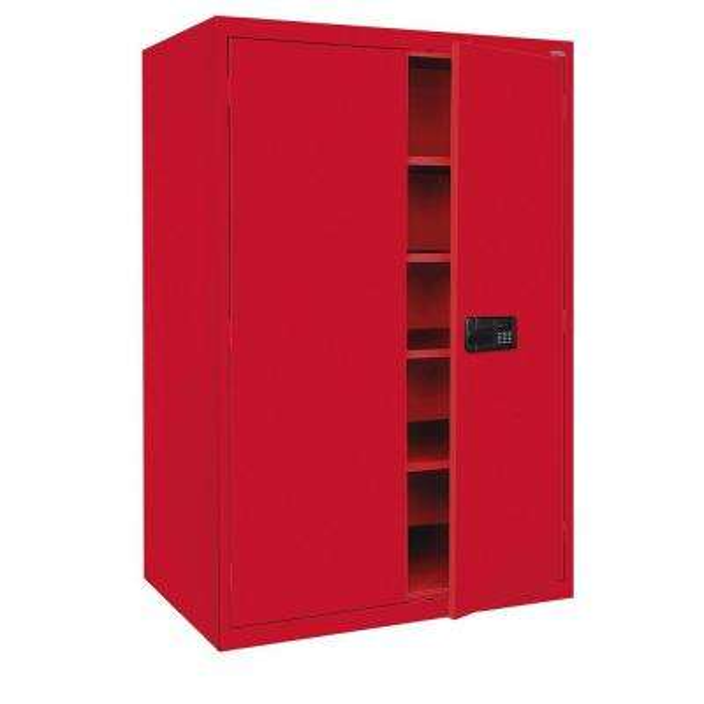 Elite Series 78 in. H x 46 in. W x 24 in. D 5-Shelf Steel Keyless Electronic Handle Storage Cabinet in Red
