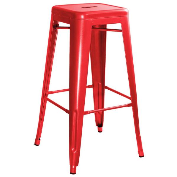 AmeriHome Loft Style 30 in. Stackable Metal Bar Stool in Red (Set of 4)