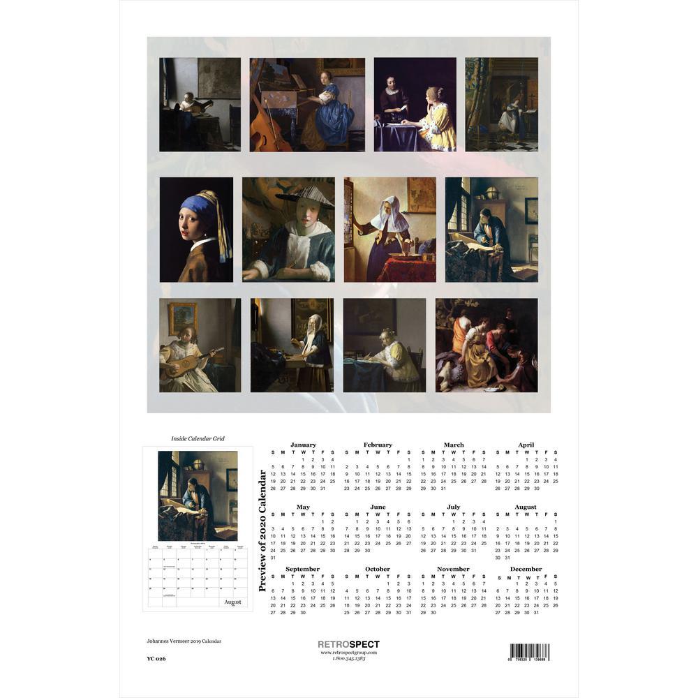 19 in. x 12.5 in. Johannes Vermeer - 2019 Calendar