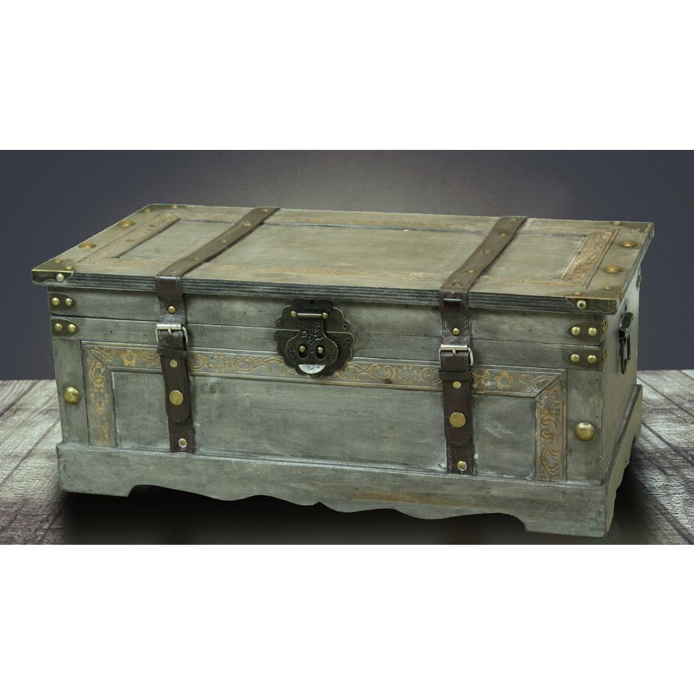 Marvelous Vintiquewise Rustic Gray Large Wooden Storage Trunk