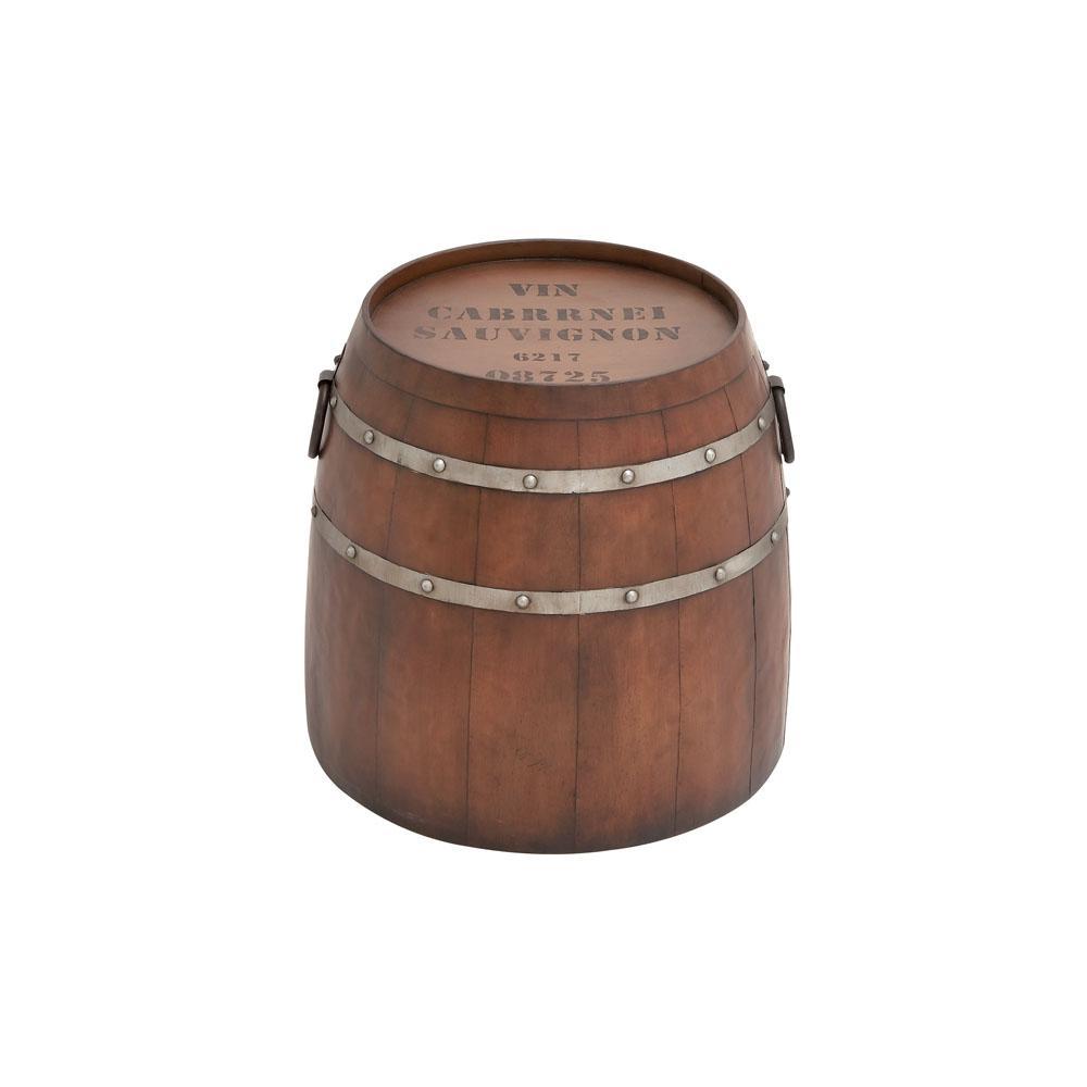 Brown Rustic Metal Barrel Accent Table
