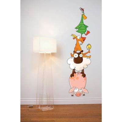 """(16 in x 67 in) Multi-Color """"Animal Pyramid"""" Kids Wall Decal"""
