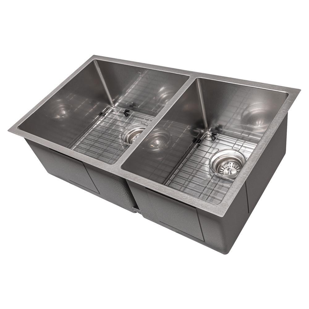 ZLINE 33 in. Chamonix Undermount Double Bowl Sink in DuraSnow®Stainless Steel