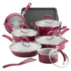 Create Delicious 13-Piece Burgundy Shimmer Aluminum Nonstick Cookware Set