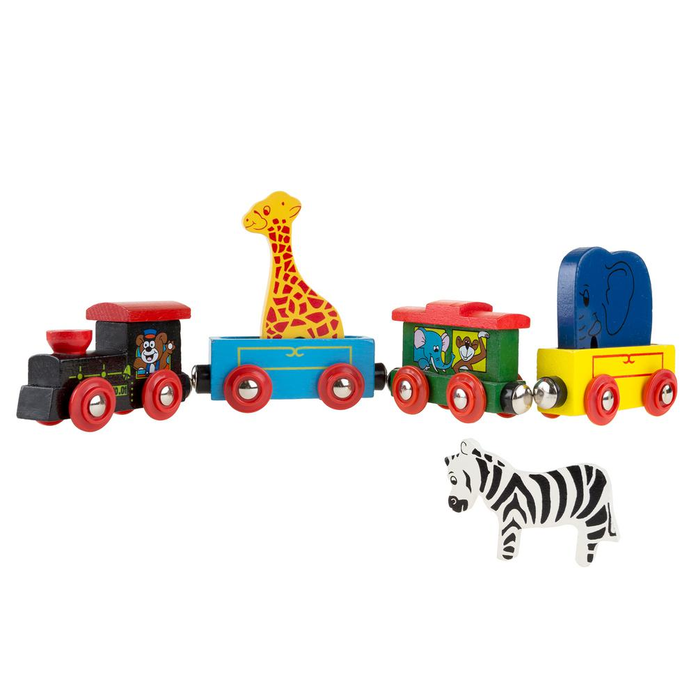 Hey Play Small Magnetic Toy Wooden Animal Train M330019