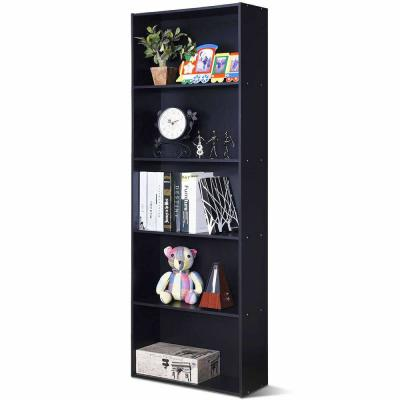 67 in. Black Wood 5-shelf Standard Bookcase with Storage