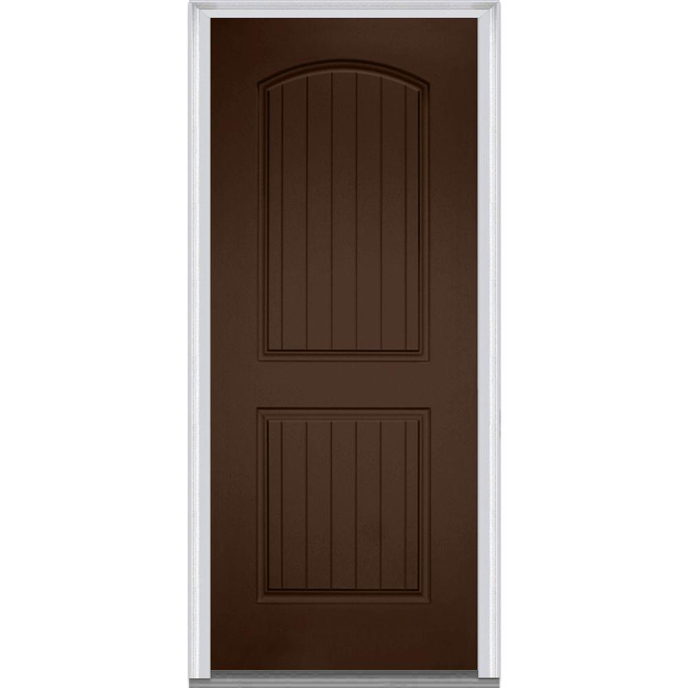 Mmi door 36 in x 80 in right hand inswing 2 panel for Prehung exterior doors with storm door