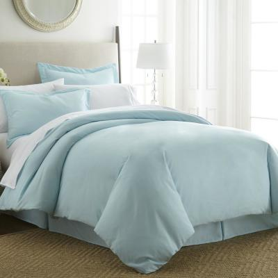 Performance Aqua Queen 3-Piece Duvet Cover Set