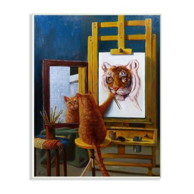 "12.5 in. x 18.5 in. ""Cat Confidence Self Portrait as a Tiger Funny Painting"" by Artist Lucia Heffernan Wood Wall Art"