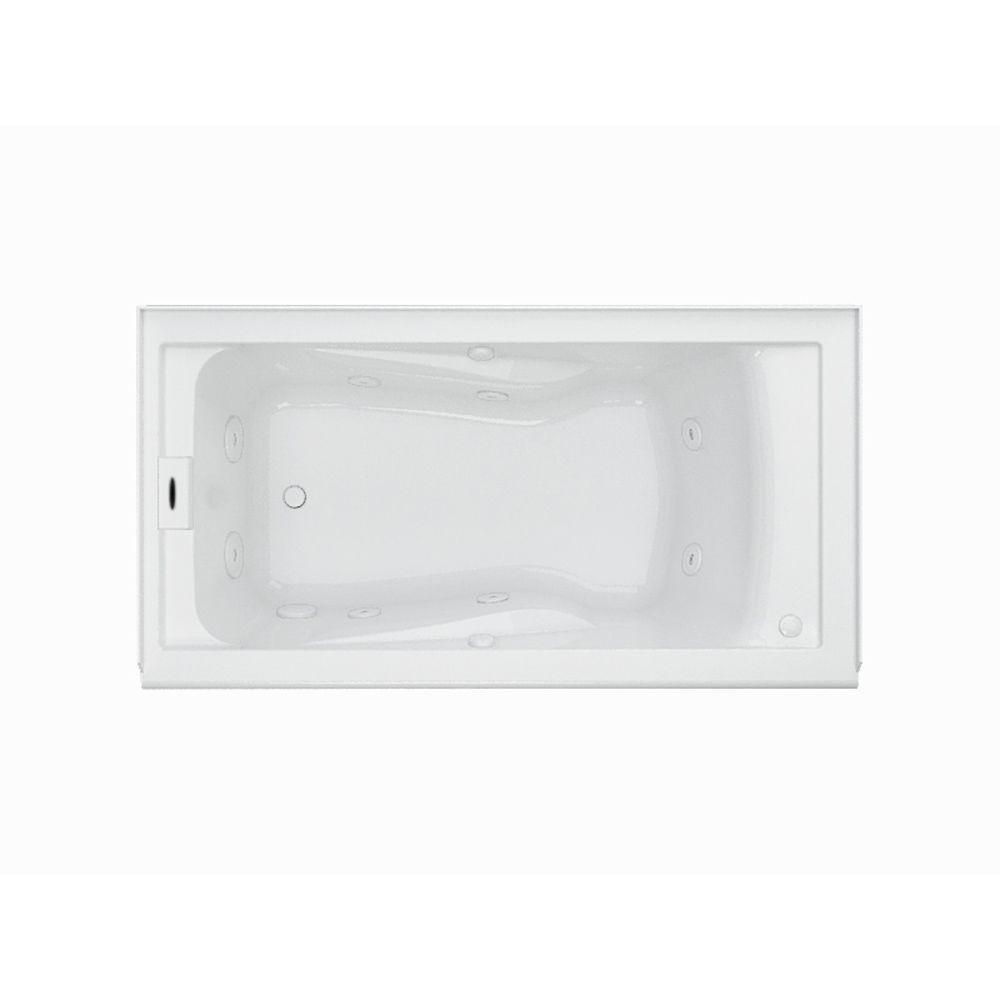 EverClean 60 in. Acrylic Left Drain Rectangular Alcove Whirlpool Bathtub in White