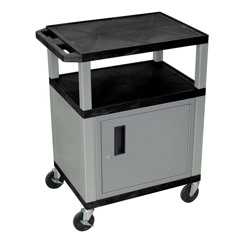 WT 34 in. A/V Cart With Nickel Colored Cabinet, Black She...