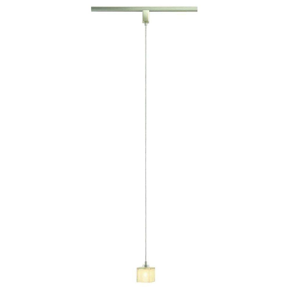 Brushed nickel miniature pendant track lighting fixture