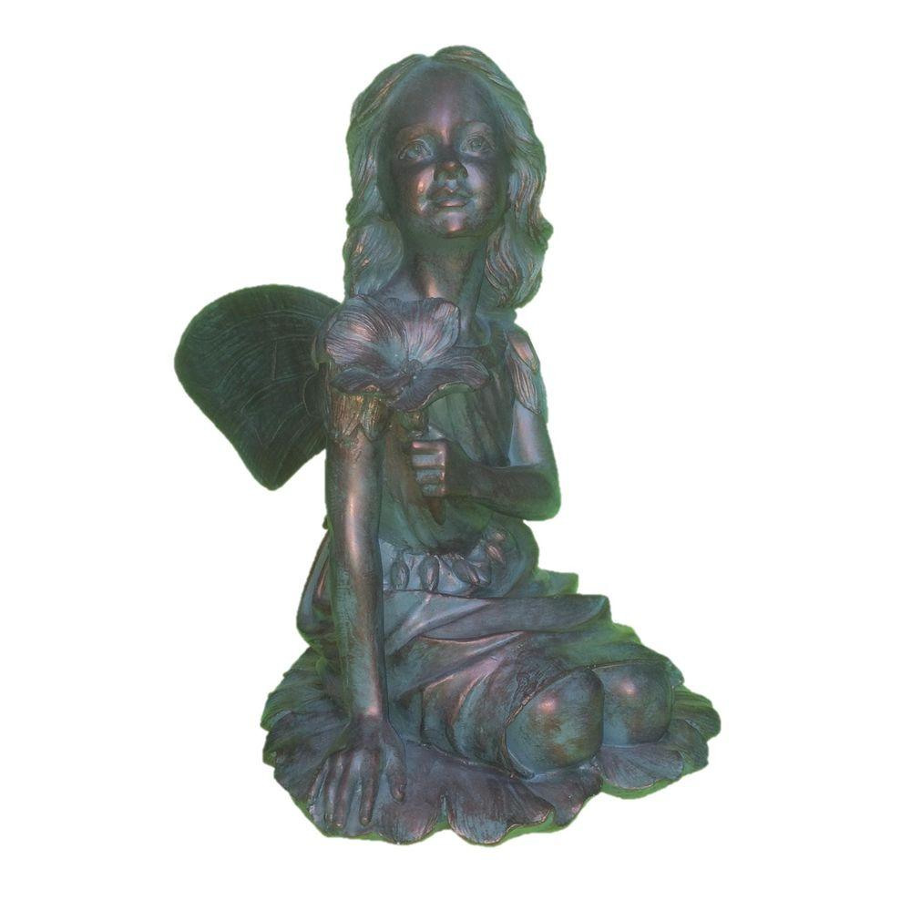 14 in. Fairy Gabriella Bronze Patina Collectible Garden Statue