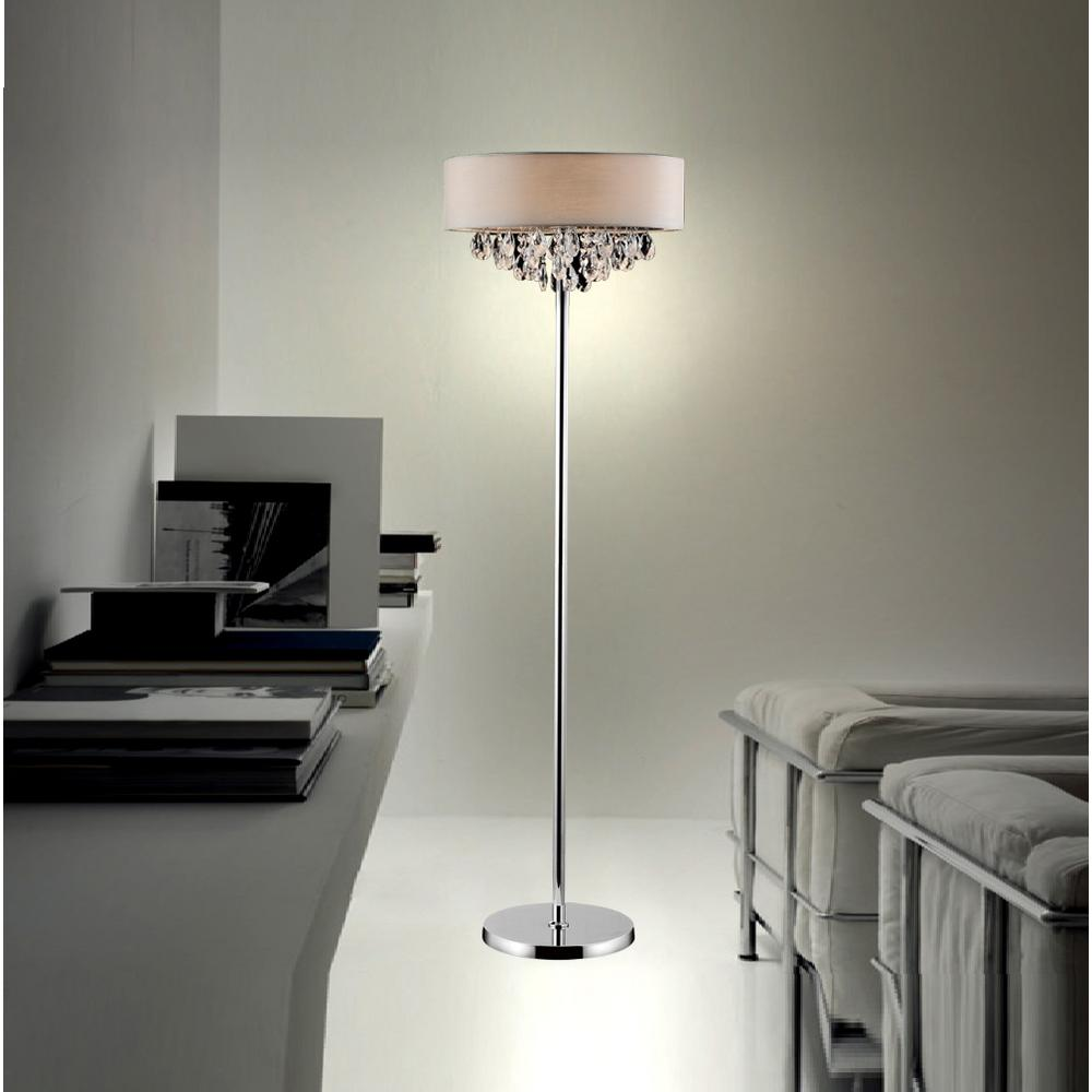 CWI Lighting Dash 65 in. Chrome Floor Lamp with Off White Shade