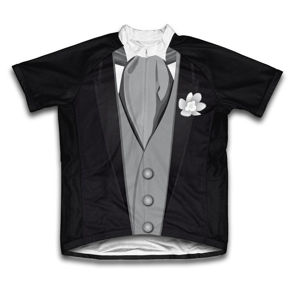 Men's Small Black Groom Tuxedo Microfiber Short-Sleeved Cycling Jersey