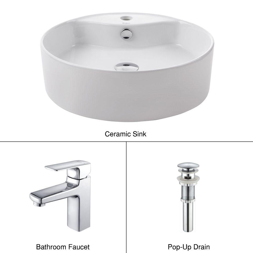 Round Ceramic Vessel Sink in White with Virtus Basin Faucet in
