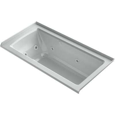 Archer 60 in. Right-Hand Drain Rectangular Alcove Whirlpool and Air Bath Bathtub in Ice Grey