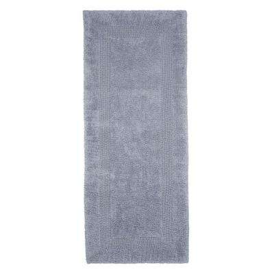 Silver 2 ft. x 5 ft. Cotton Reversible Extra Long Bath Rug Runner