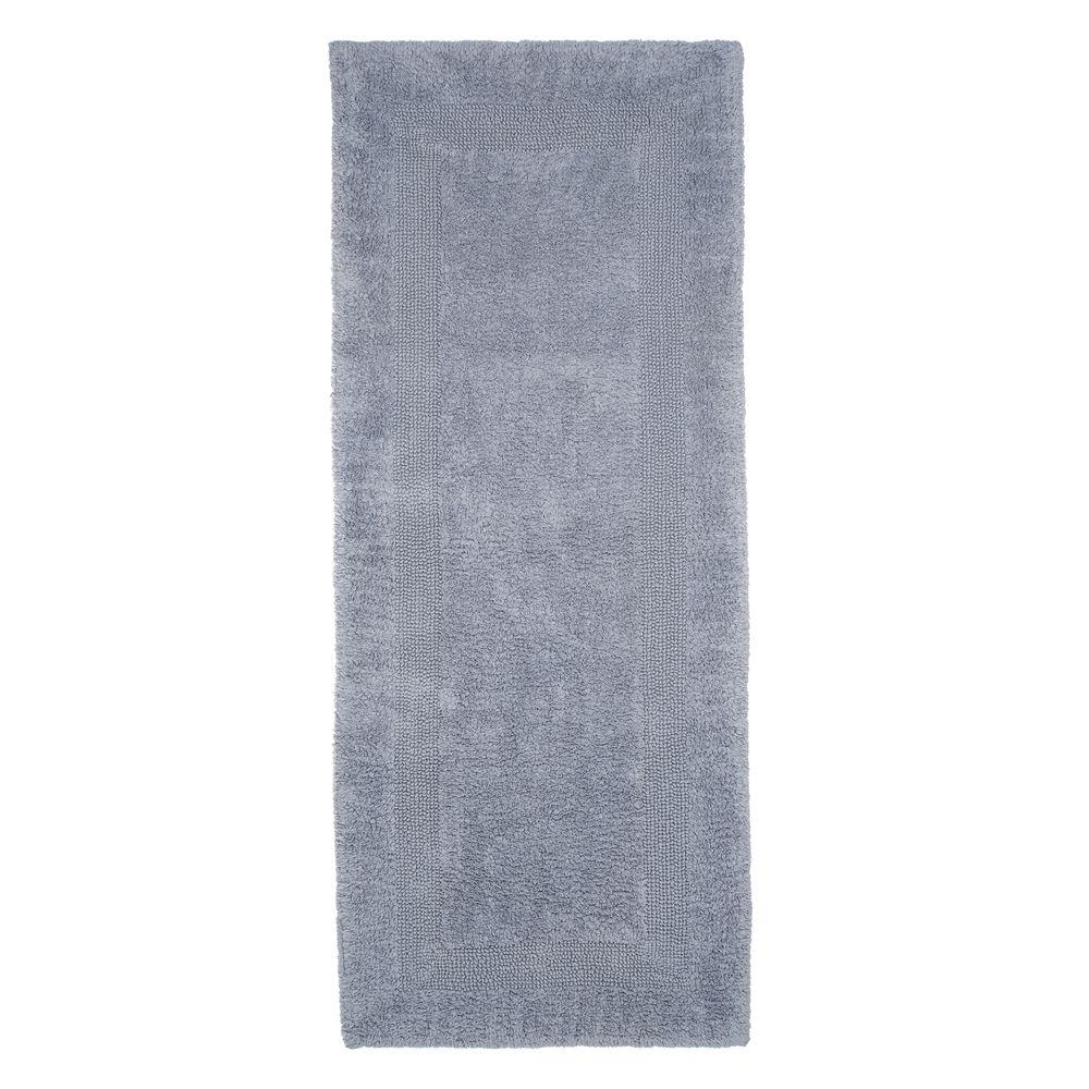 Lavish Home Silver 2 Ft X 5 Cotton Reversible Extra Long Bath Rug