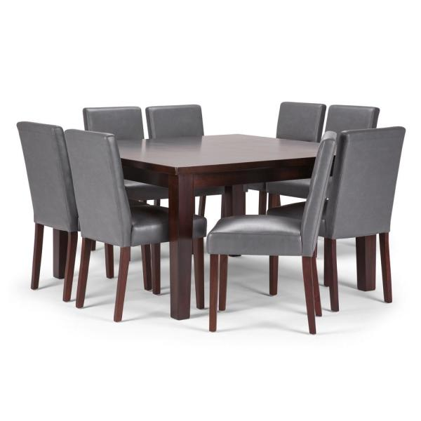 Simpli Home Avalon 9 Piece Dining Set With 6 Upholstered